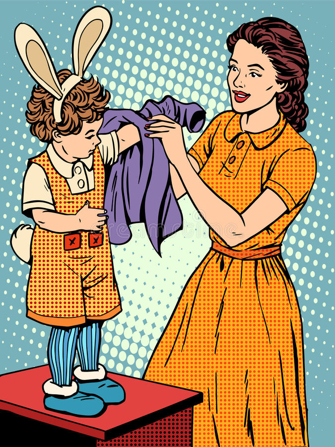 Μητέρα καρναβαλιού των φορεμάτων παιδιών επάνω σε ένα λαγουδάκι απεικόνιση αποθεμάτων