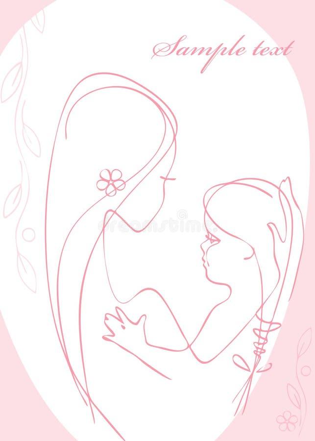 μητέρα κοριτσακιών διανυσματική απεικόνιση