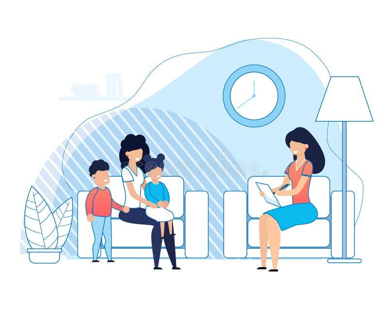Μητέρα με τα παιδιά στις διαβουλεύσεις ψυχολόγων ελεύθερη απεικόνιση δικαιώματος