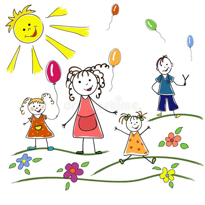 Μητέρα με τα παιδιά, τις κόρες και το γιο με τα πετώντας μπαλόνια διανυσματική απεικόνιση