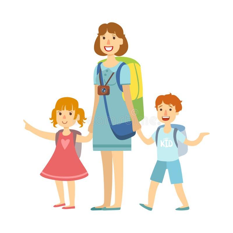 Μητέρα με τα παιδιά της που πηγαίνουν για τις θερινές διακοπές Ζωηρόχρωμος χαρακτήρας κινουμένων σχεδίων ελεύθερη απεικόνιση δικαιώματος