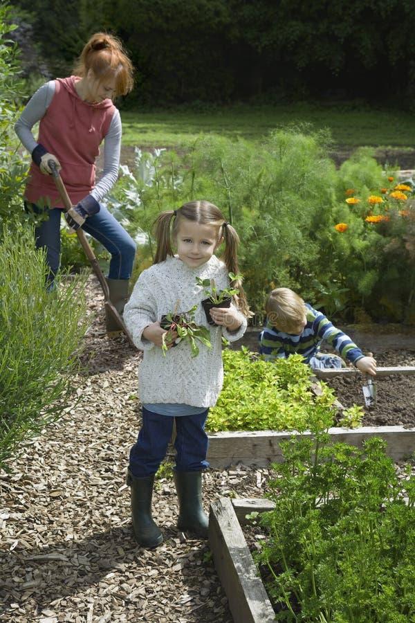 Μητέρα με την κηπουρική δύο παιδιών στοκ εικόνα με δικαίωμα ελεύθερης χρήσης