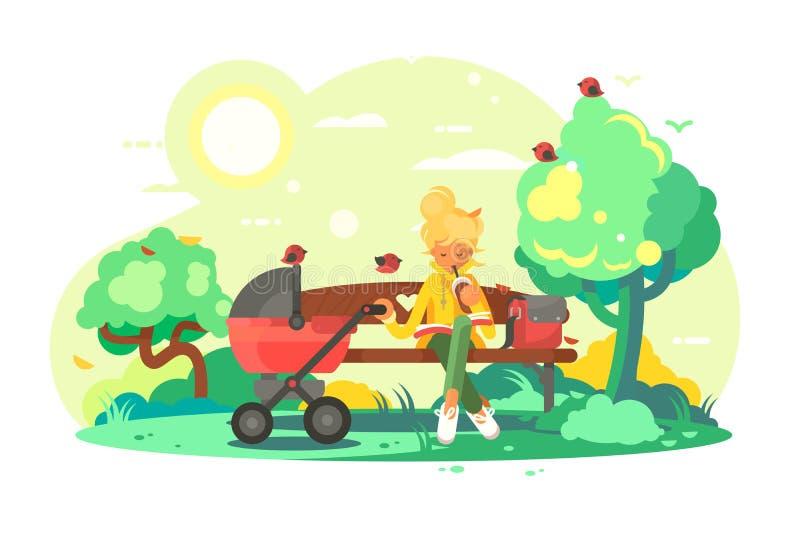 Μητέρα με τη μεταφορά μωρών στο πάρκο διανυσματική απεικόνιση