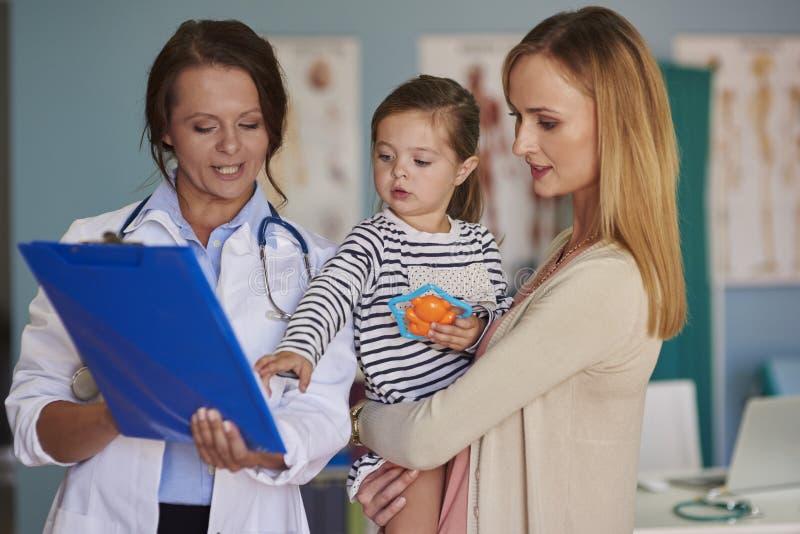 Μητέρα με το κοριτσάκι στο γραφείο του γιατρού στοκ εικόνες με δικαίωμα ελεύθερης χρήσης