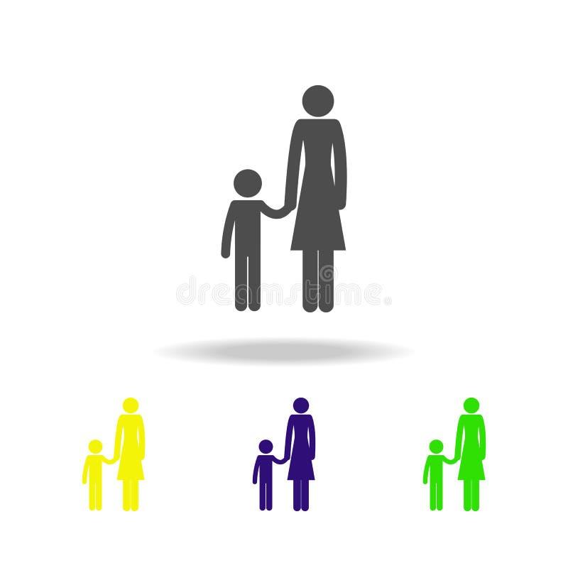 μητέρα με το πολυ εικονίδιο χρώματος γιων Το στοιχείο του εικονιδίου ταξιδιού για την κινητούς έννοια και τον Ιστό apps, μπορεί ν διανυσματική απεικόνιση