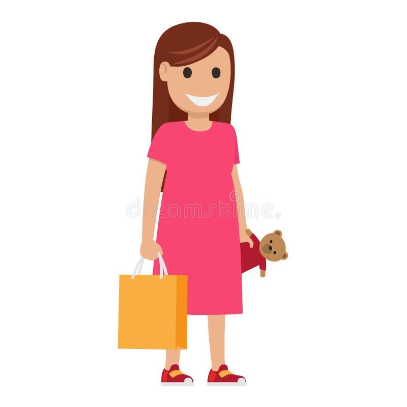 Μητέρα με το llustration τσαντών και παιχνιδιών χρονικός καθολικός Ιστός προτύπων αγορών σελίδων χαιρετισμού καρτών ανασκόπησης απεικόνιση αποθεμάτων