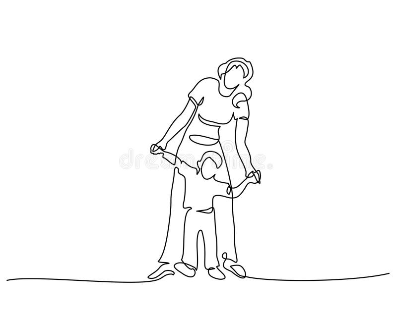Μητέρα οικογενειακής έννοιας που περπατά με το μικρό γιο απεικόνιση αποθεμάτων