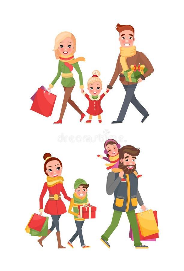 Μητέρα οικογενειακών μελών, Father Children Do Shopping ελεύθερη απεικόνιση δικαιώματος