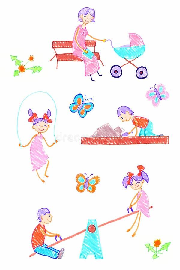 μητέρα παιδιών διανυσματική απεικόνιση