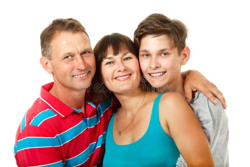 Μητέρα, πατέρας με τον έφηβο γιων Ευτυχής καυκάσια οικογένεια στοκ φωτογραφία