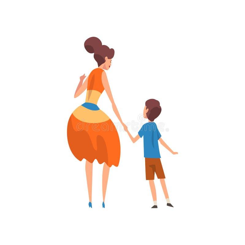 Μητέρα που κρατά το γιο της με το χέρι, πίσω άποψη, μητέρα που περνά καλά με το παιδί της, ευτυχής οικογένεια, parenting έννοια διανυσματική απεικόνιση