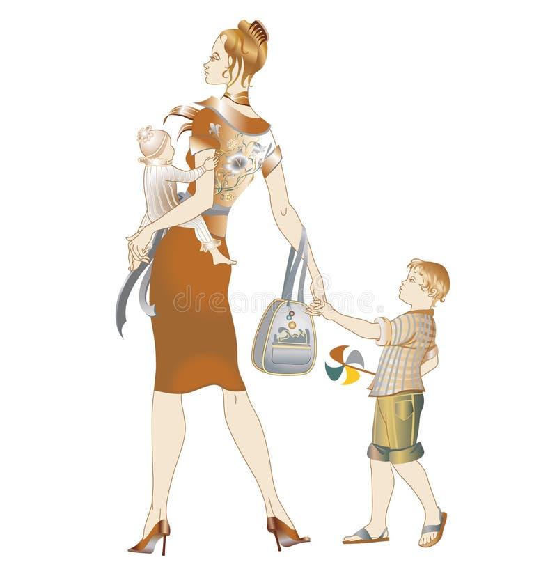 Μητέρα που περπατά με των παιδιών της ελεύθερη απεικόνιση δικαιώματος