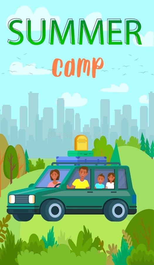 Μητέρα, τον πατέρα και τα παιδιά που αφήνονται την πόλη για το θερινό ταξίδι απεικόνιση αποθεμάτων
