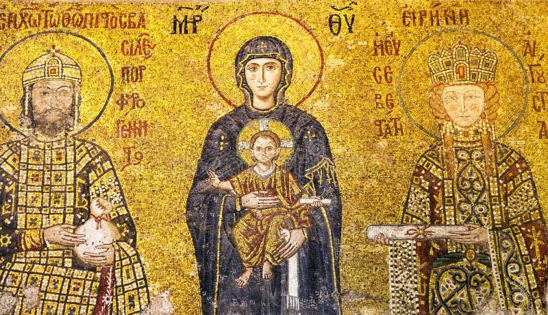 Μητέρα του παιδιού Ιησούς Χριστός, μωσαϊκό εκμετάλλευσης Θεών Comnenus σε Hagia Sophia, Ιστανμπούλ στοκ εικόνες