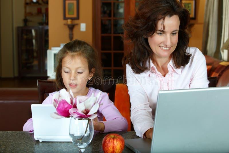 μητέρα lap-top κορών στοκ εικόνες με δικαίωμα ελεύθερης χρήσης