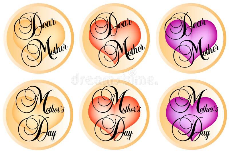 μητέρες ημέρας διακριτικών διανυσματική απεικόνιση