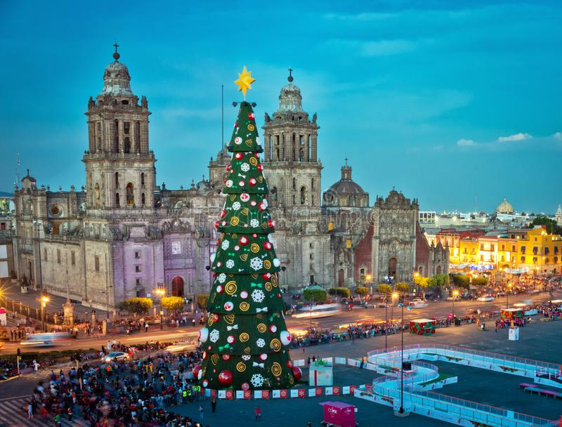 Μητροπολιτικές διακοσμήσεις καθεδρικών ναών και χριστουγεννιάτικων δέντρων σε Zocalo Πόλη του Μεξικού στοκ εικόνες