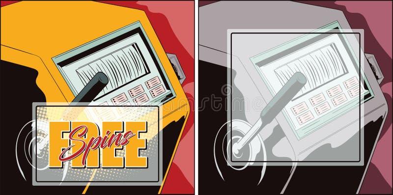 Μηχάνημα τυχερών παιχνιδιών με κέρματα Ελεύθερες περιστροφές Διαφημιστική χαρτοπαικτική λέσχη Έμπνευση για το s απεικόνιση αποθεμάτων