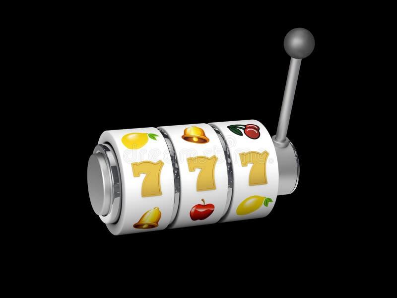 Μηχάνημα τυχερών παιχνιδιών με κέρματα με το τυχερό τζακ ποτ sevens, ο τρισδιάστατος απομονωμένος απεικόνιση Μαύρος διανυσματική απεικόνιση