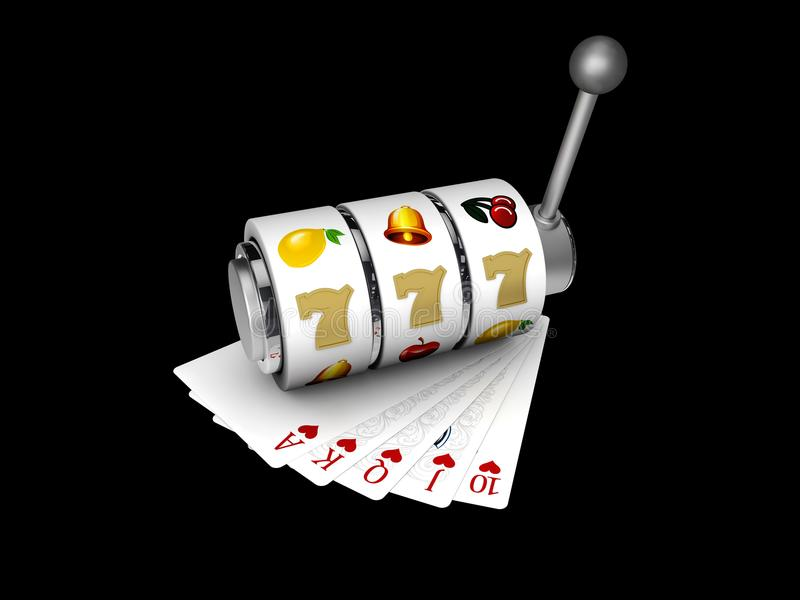 Μηχάνημα τυχερών παιχνιδιών με κέρματα με το τυχερό τζακ ποτ sevens με τις κάρτες παιχνιδιού, ο τρισδιάστατος απομονωμένος απεικό απεικόνιση αποθεμάτων