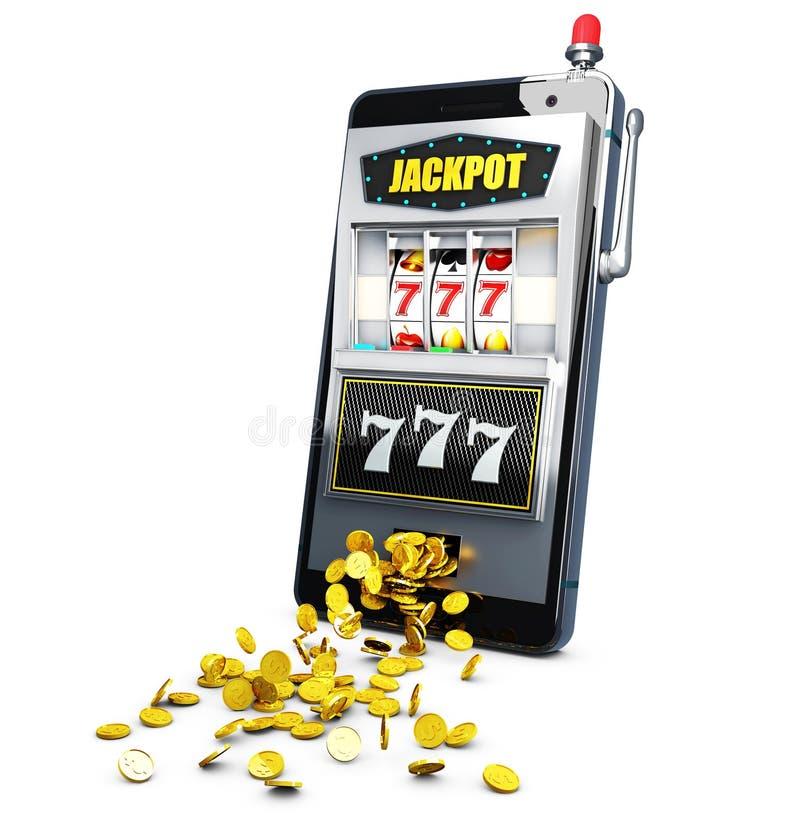 Μηχάνημα τυχερών παιχνιδιών με κέρματα με το τυχερό τζακ ποτ sevens τρισδιάστατη απεικόνιση διανυσματική απεικόνιση