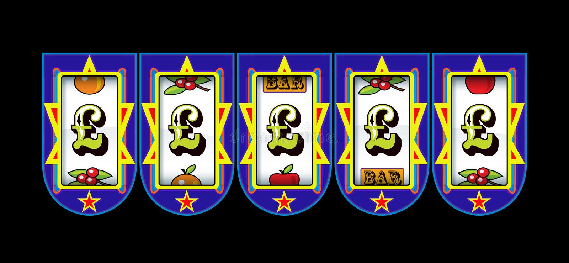 Μηχάνημα τυχερών παιχνιδιών με κέρματα συμβόλων λιβρών διανυσματική απεικόνιση