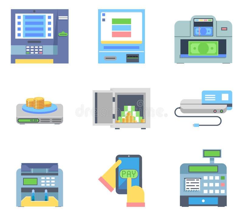 Μηχανές ελέγχου μετρητών χρημάτων τραπεζικής πληρωμής ATM επίπεδες ελεύθερη απεικόνιση δικαιώματος