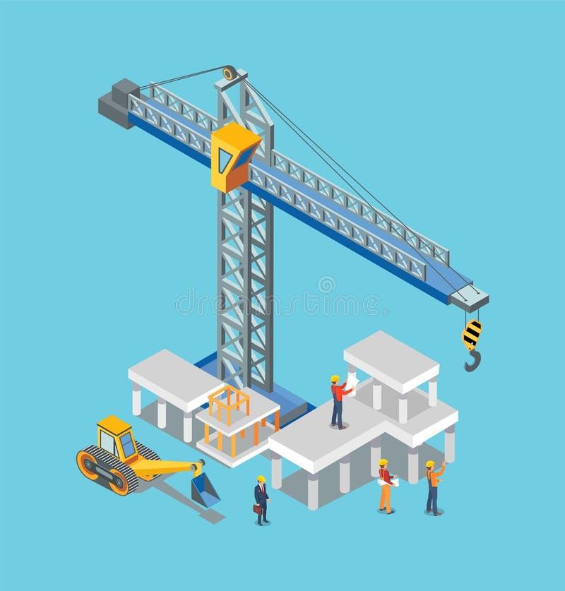 Μηχανές οικοδόμησης κατασκευής και άτομο εργαζομένων ελεύθερη απεικόνιση δικαιώματος