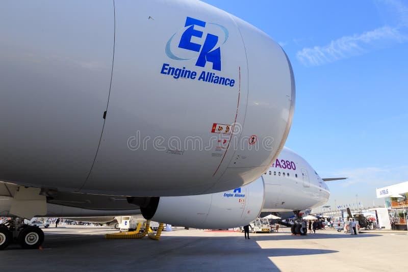 Μηχανές στο airbus A380 στοκ φωτογραφία με δικαίωμα ελεύθερης χρήσης