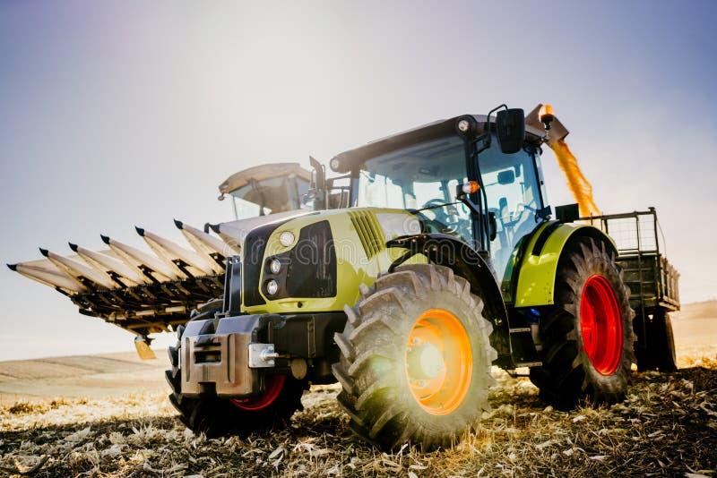Μηχανήματα βιομηχανίας γεωργίας Συνδυάστε τη θεριστική μηχανή και το τρακτέρ με τη συγκομιδή Farmer εκφόρτωσης ρυμουλκών που λειτ στοκ φωτογραφία με δικαίωμα ελεύθερης χρήσης