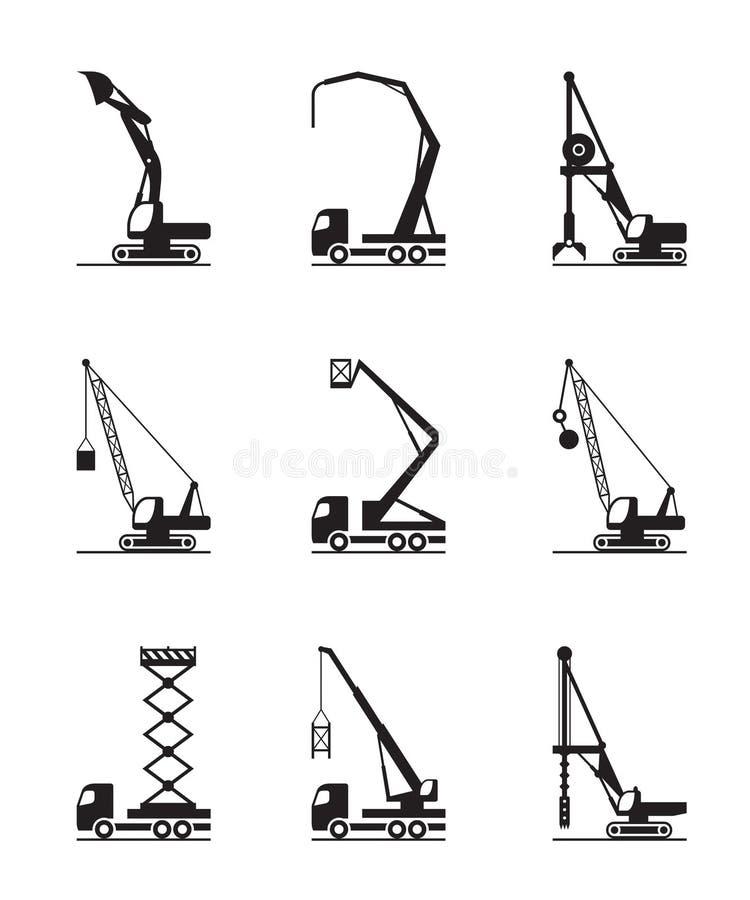 Μηχανήματα κατασκευής πολυόροφων κτιρίων ελεύθερη απεικόνιση δικαιώματος