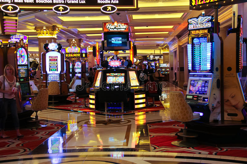 Μηχανήματα τυχερών παιχνιδιών με κέρματα στο ξενοδοχείο Palazzo στο Λας Βέγκας στοκ φωτογραφία με δικαίωμα ελεύθερης χρήσης