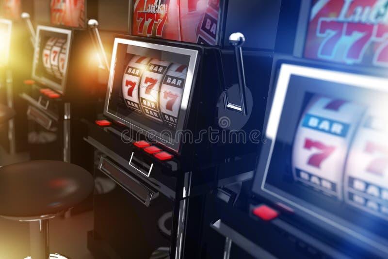 Μηχανήματα τυχερών παιχνιδιών με κέρματα χαρτοπαικτικών λεσχών Vegas απεικόνιση αποθεμάτων