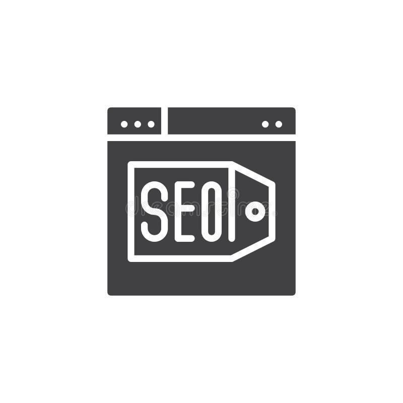 Μηχανή αναζήτησης με διανυσματικό εικονίδιο βελτιστοποίησης SEO το ικανοποιημένο ελεύθερη απεικόνιση δικαιώματος
