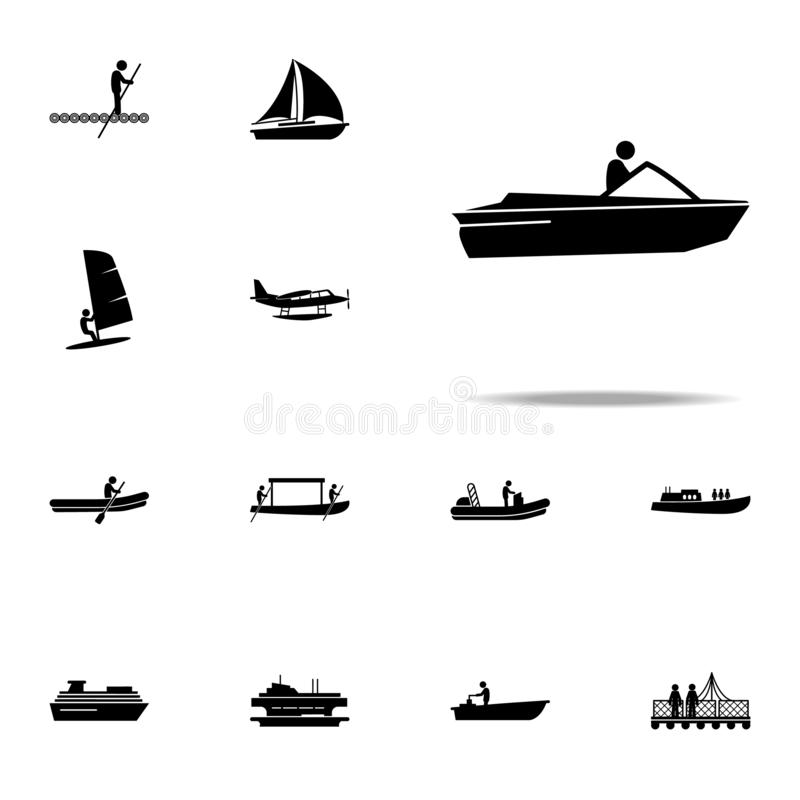 μηχανή, βάρκα, εικονίδιο ταχύτητας καθολικό εικονιδίων μεταφορών νερού που τίθεται για τον Ιστό και κινητό απεικόνιση αποθεμάτων