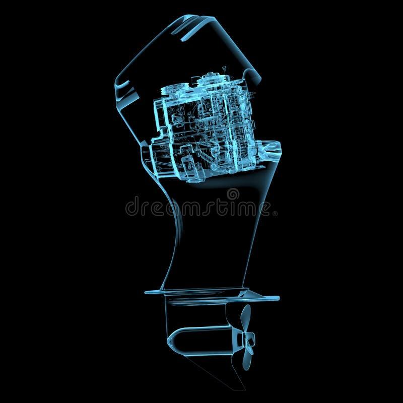 Μηχανή βαρκών (τρισδιάστατος των ακτίνων X μπλε διαφανής) διανυσματική απεικόνιση
