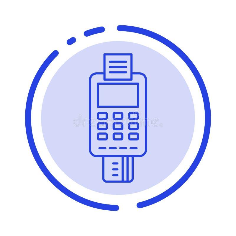 Μηχανή, επιχείρηση, κάρτα, έλεγχος, πιστωτική κάρτα, μηχανή πιστωτικών καρτών, πληρωμή, μπλε εικονίδιο γραμμών διαστιγμένων γραμμ ελεύθερη απεικόνιση δικαιώματος
