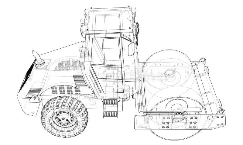 Μηχανή κατασκευής Διάνυσμα συμπιεστών ασφάλτου ελεύθερη απεικόνιση δικαιώματος