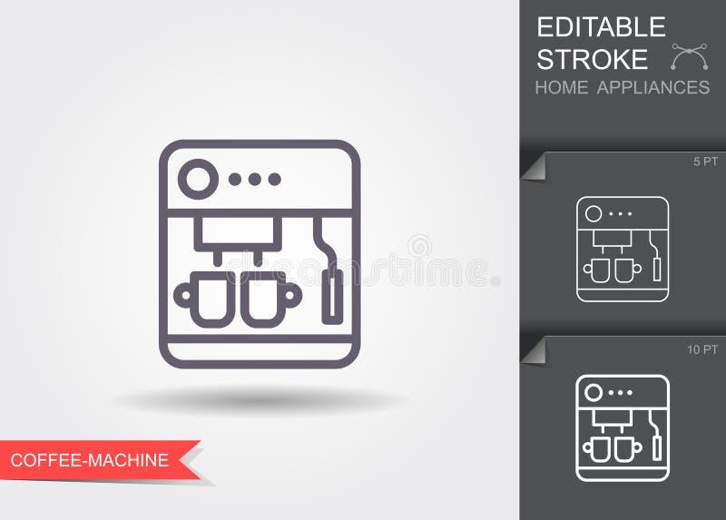 Μηχανή κατασκευαστών καφέ Εικονίδιο γραμμών με το editable κτύπημα με τη σκιά διανυσματική απεικόνιση