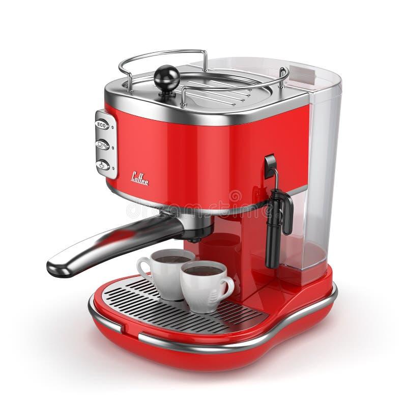 Μηχανή καφέ με τα φλυτζάνια στο λευκό διανυσματική απεικόνιση