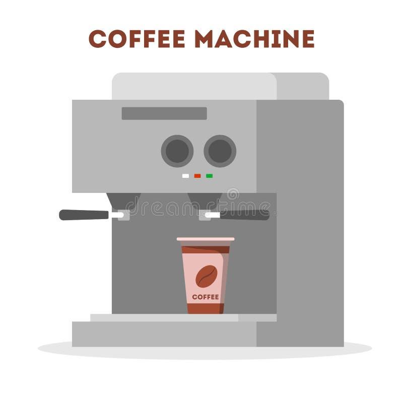 Μηχανή καφέ που κατασκευάζει το ζεστό νόστιμο ποτό πρωινού απεικόνιση αποθεμάτων