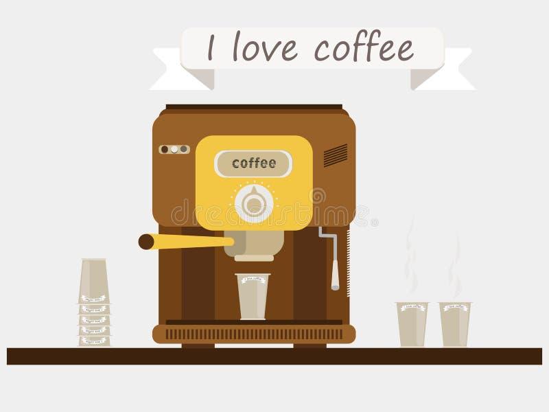 Μηχανή καφέ στο ράφι Καφές, φλυτζάνια, γυαλιά Το σύνθημα ` Ι καφές ` αγάπης απεικόνιση αποθεμάτων
