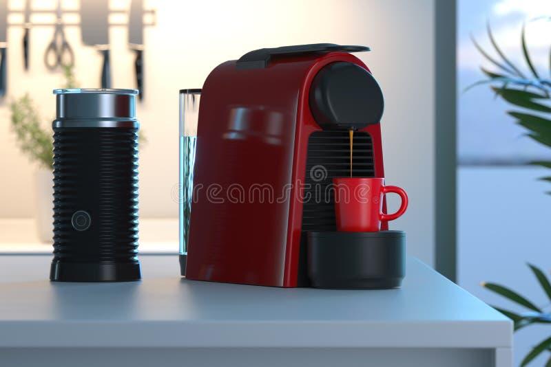 Μηχανή καψών καφέ Espresso στο στάδιο της κατασκευής του φρέσκου καφέ στη φωτεινή σύγχρονη άνετη κουζίνα r διανυσματική απεικόνιση