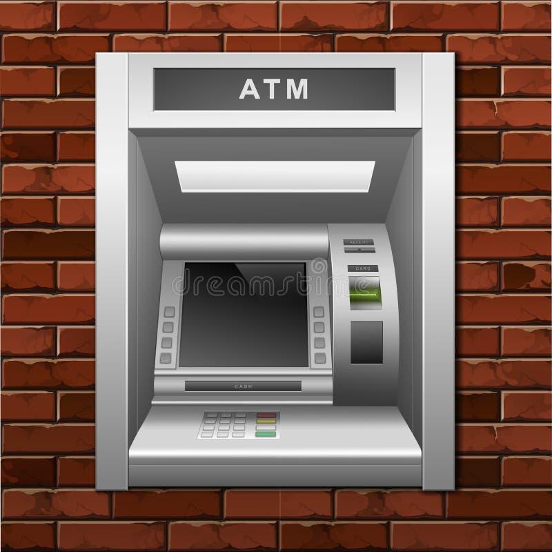 Μηχανή μετρητών τράπεζας του ATM σε ένα υπόβαθρο τουβλότοιχος απεικόνιση αποθεμάτων
