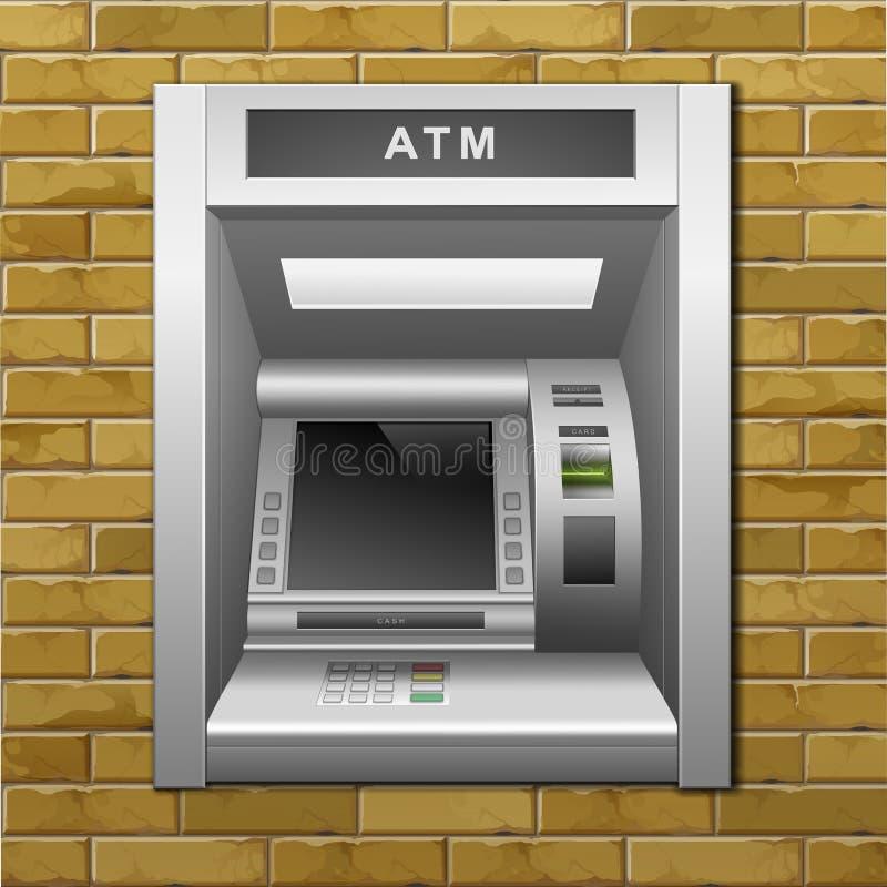 Μηχανή μετρητών τράπεζας του ATM σε ένα υπόβαθρο τουβλότοιχος διανυσματική απεικόνιση