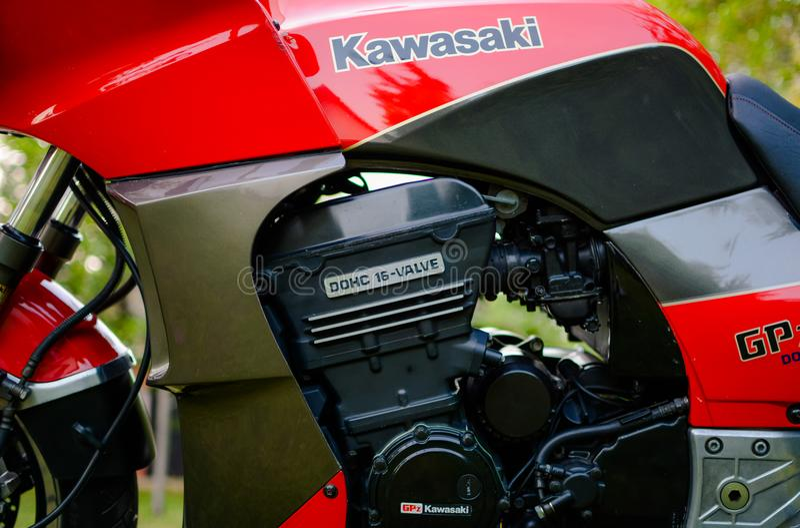 ΜΗΧΑΝΉ μοτοσικλετών Kawasaki GPZ 900 στοκ εικόνα με δικαίωμα ελεύθερης χρήσης