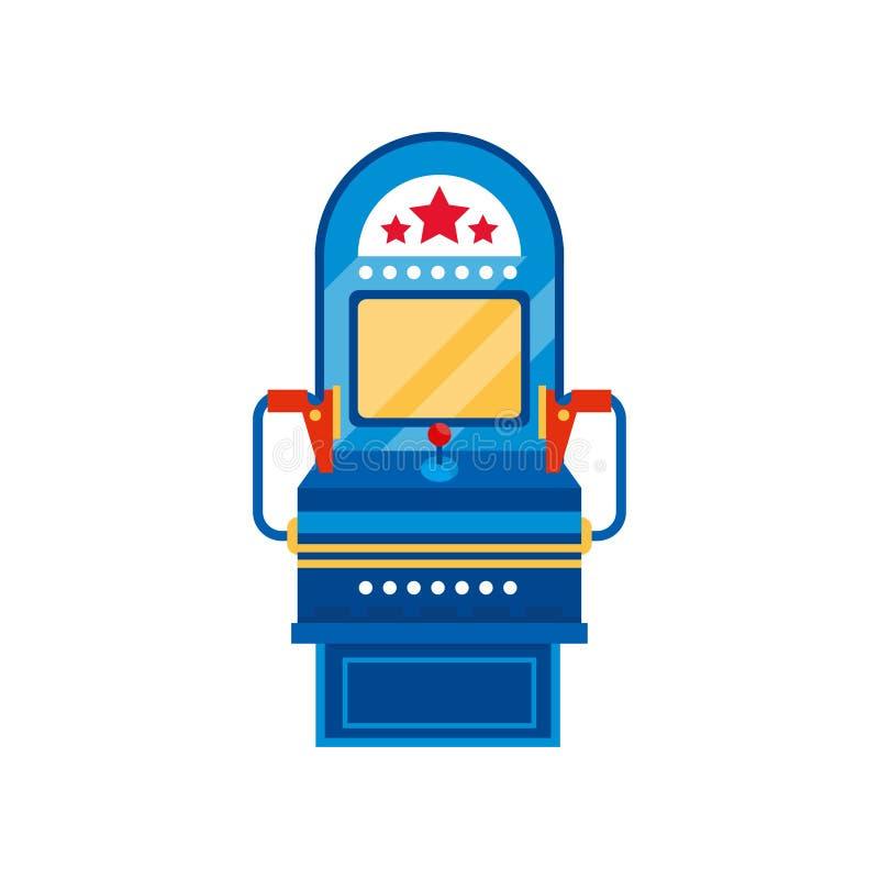 Μηχανή παιχνιδιών Arcade, αναδρομική διανυσματική απεικόνιση μηχανημάτων τυχερών παιχνιδιών με κέρματα χαρτοπαικτικών λεσχών σε έ ελεύθερη απεικόνιση δικαιώματος