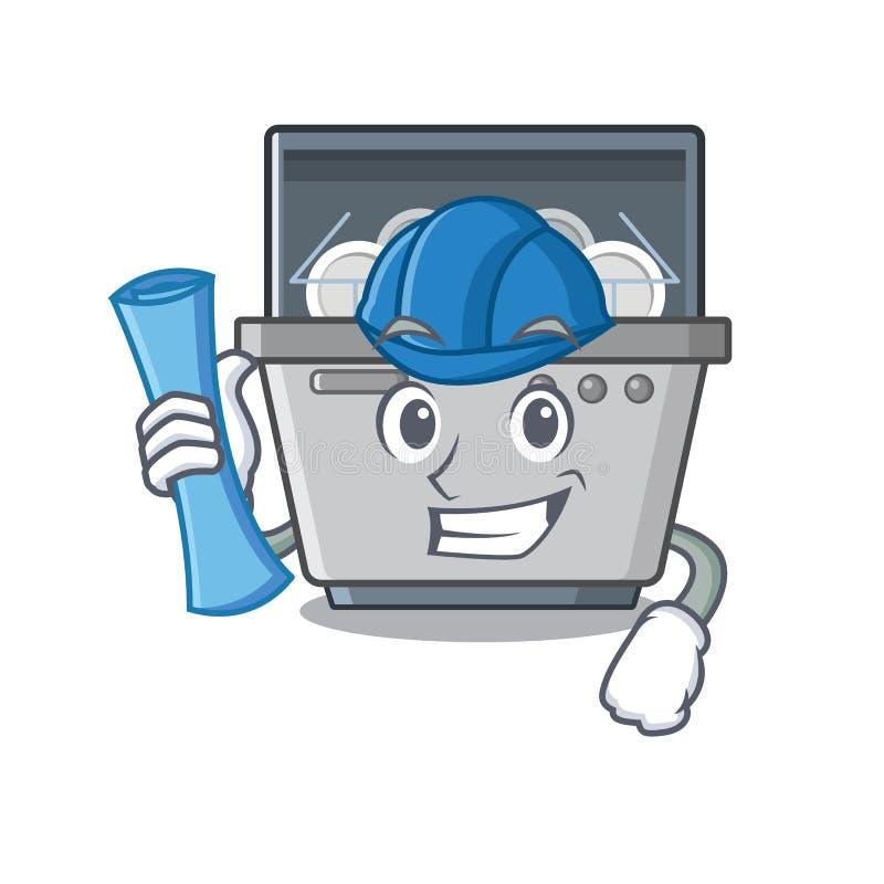 Μηχανή πλυντηρίων πιάτων αρχιτεκτόνων που απομονώνεται στα κινούμενα σχέδια απεικόνιση αποθεμάτων