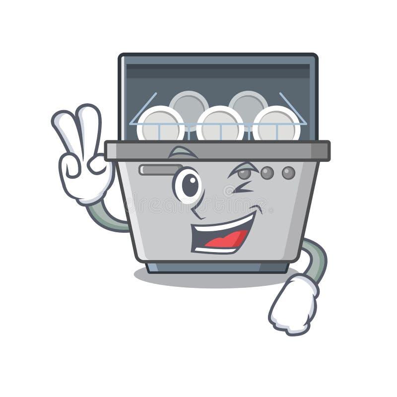 Μηχανή πλυντηρίων πιάτων δύο δάχτυλων που απομονώνεται στα κινούμενα σχέδια απεικόνιση αποθεμάτων