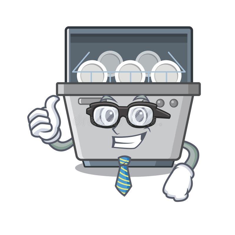 Μηχανή πλυντηρίων πιάτων επιχειρηματιών που απομονώνεται στα κινούμενα σχέδια διανυσματική απεικόνιση